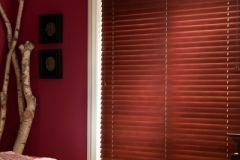 Wood Blinds - Mahogany Bedroom Close-up