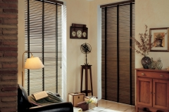 Wood Blinds - Full Length Stained with Decorative Tape