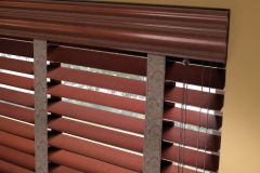 Wood Blinds - Close-up of Valance with Decorative Tape